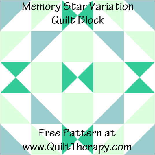 "Memory Star Variation Quilt Block Free Pattern for a 12"" quilt block at www.QuiltTherapy.com!"
