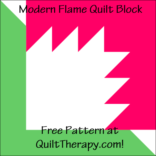 """Modern Flame Quilt Block Free Pattern for a 12"""" quilt block at QuiltTherapy.com!"""