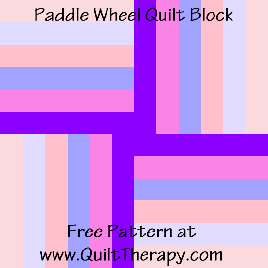 "Paddle Wheel Quilt Block Free Pattern for a 12"" quilt block at www.QuiltTherapy.com!"