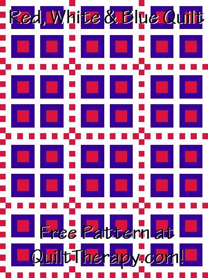 "Red, White & Blue Quilt Free Pattern for a 36"" x 48"" quilt at QuiltTherapy.com!"