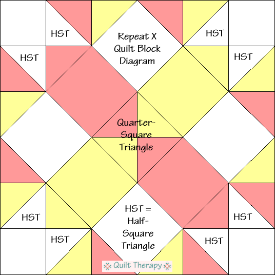 "Repeat X Quilt Block Diagram Free Pattern for 12"" finished quilt block at QuiltTherapy.com!"