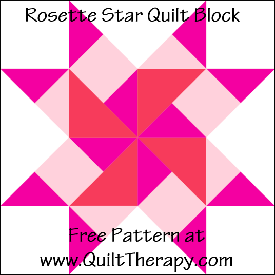 "Rosette Star Quilt Block Free Pattern for a 12"" quilt block at www.QuiltTherapy.com!"