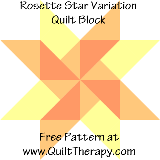 "Rosette Star Variation Quilt Block Free Pattern for a 12"" quilt block at www.QuiltTherapy.com!"