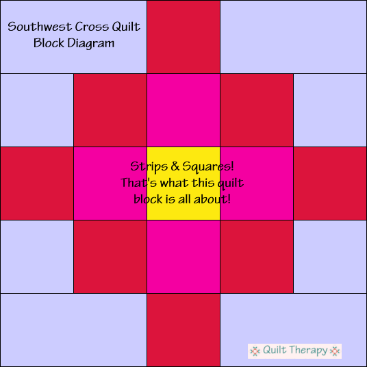 "Southwest Cross Quilt Block Diagram Free Pattern for 12"" finished quilt block at QuiltTherapy.com!"