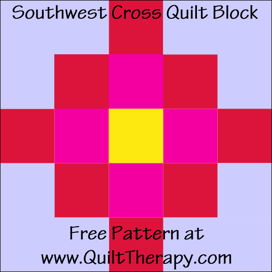 "Southwest Cross Quilt Block Free Pattern for a 12"" quilt block at www.QuiltTherapy.com!"