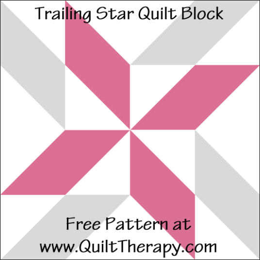 "Trailing Star Quilt Block Free Pattern for a 12"" quilt block at www.QuiltTherapy.com!"