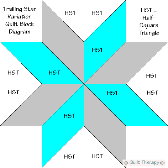 "Trailing Star Variation Quilt Block Diagram Free Pattern for 12"" finished quilt block at QuiltTherapy.com!"