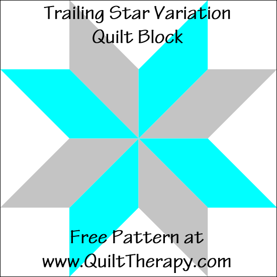 "Trailing Star Variation Quilt Block Free Pattern for a 12"" quilt block at www.QuiltTherapy.com!"