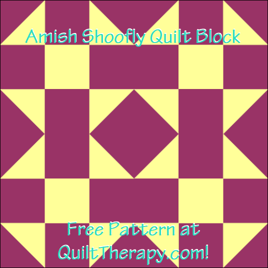"Amish Shoofly Quilt Block Free Pattern for a 12"" quilt block at QuiltTherapy.com!"