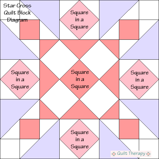 "Cross Star Quilt Block Diagram Free Pattern for 12"" finished quilt block at QuiltTherapy.com!"