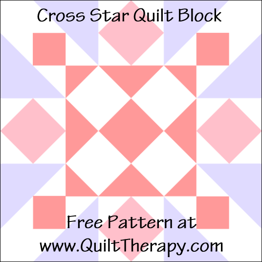 "Cross Star Quilt Block Free Pattern for a 12"" quilt block at www.QuiltTherapy.com!"