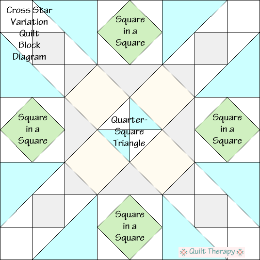 "Cross Star Variation Quilt Block Diagram Free Pattern for 12"" finished quilt block at QuiltTherapy.com!"