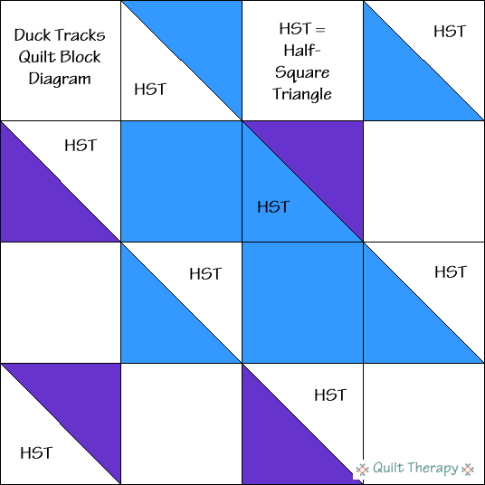 "Duck Tracks Quilt Block Diagram Free Pattern for 12"" finished quilt block at QuiltTherapy.com!"