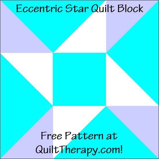 "Eccentric Star Variation Quilt Block Free Pattern for a 12"" quilt block at QuiltTherapy.com!"