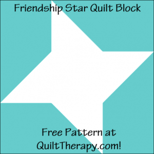 """Friendship Star Quilt Block Free Pattern for a 12"""" quilt block at QuiltTherapy.com!"""