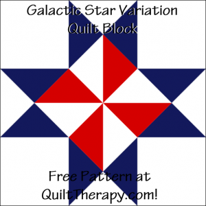 "Galactic Star Variation Quilt Block Free Pattern for a 12"" quilt block at QuiltTherapy.com!"