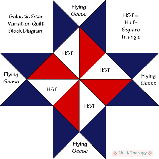 "Galactic Star Variation Quilt Block Diagram Free Pattern for 12"" finished quilt block at QuiltTherapy.com!"