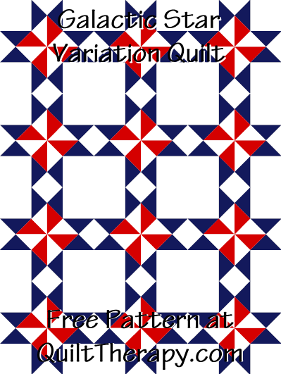 """Galactic Star Variation Quilt Free Pattern for a 36"""" x 48"""" quilt at QuiltTherapy.com!"""
