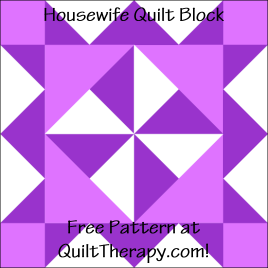 "Housewife Quilt Block Free Pattern for a 12"" quilt block at QuiltTherapy.com!"