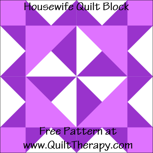"Housewife Quilt Block Free Pattern for a 12"" quilt block at www.QuiltTherapy.com!"