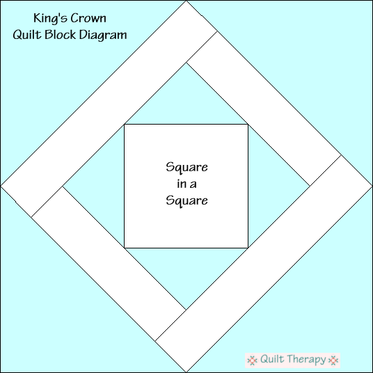 "King's Crown Quilt Block Diagram Free Pattern for 12"" finished quilt block at QuiltTherapy.com!"