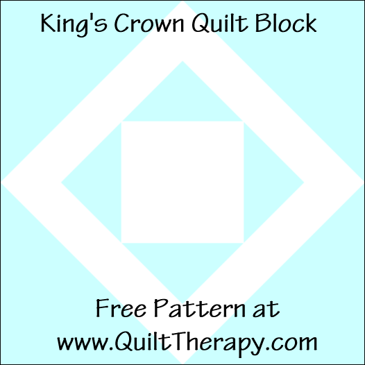 "King's Crown Quilt Block Free Pattern for a 12"" quilt block at www.QuiltTherapy.com!"