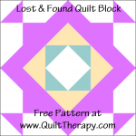 """Lost & Found Quilt Block Free Pattern for a 12"""" quilt block at www.QuiltTherapy.com!"""