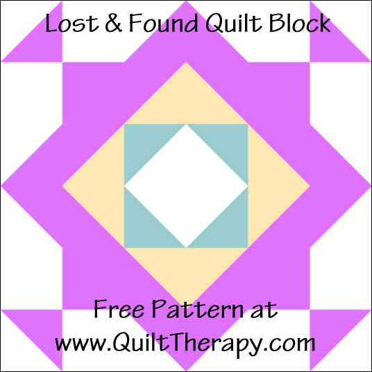 "Lost & Found Quilt Block Free Pattern for a 12"" quilt block at www.QuiltTherapy.com!"