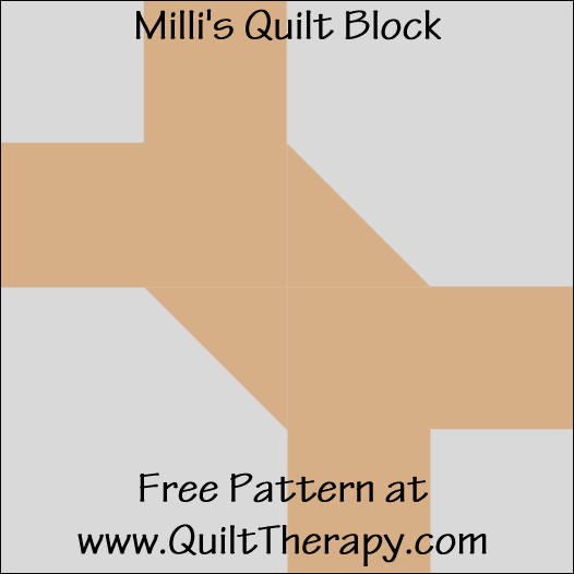 "Milli's Quilt Block Free Pattern for a 12"" quilt block at www.QuiltTherapy.com!"