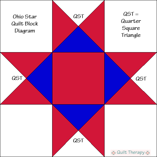 """Ohio Star Quilt Block Diagram Free Pattern for 12"""" finished quilt block at QuiltTherapy.com!"""
