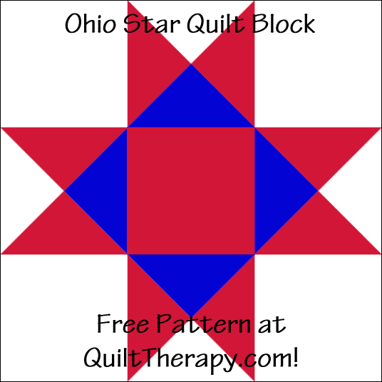 """Ohio Star Quilt Block Free Pattern for a 12"""" quilt block at QuiltTherapy.com!"""