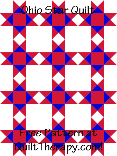 """Ohio Star Quilt Free Pattern for a 36"""" x 48"""" quilt at QuiltTherapy.com!"""