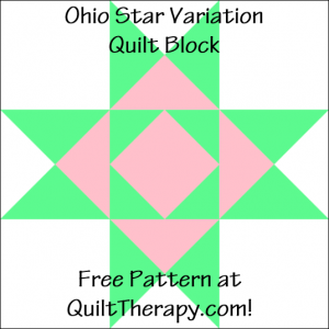 "Ohio Star Variation Quilt Block Free Pattern for a 12"" quilt block at QuiltTherapy.com!"