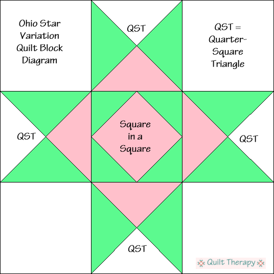 """Ohio Star Variation Quilt Block Diagram Free Pattern for 12"""" finished quilt block at QuiltTherapy.com!"""