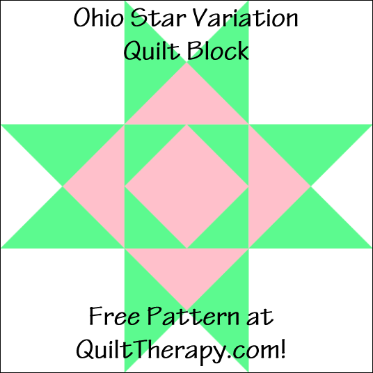 """Ohio Star Variation Quilt Block Free Pattern for a 12"""" quilt block at QuiltTherapy.com!"""