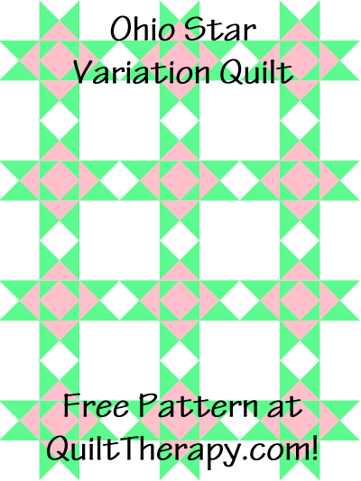 """Ohio Star Variation Quilt Free Pattern for a 36"""" x 48"""" quilt at QuiltTherapy.com!"""
