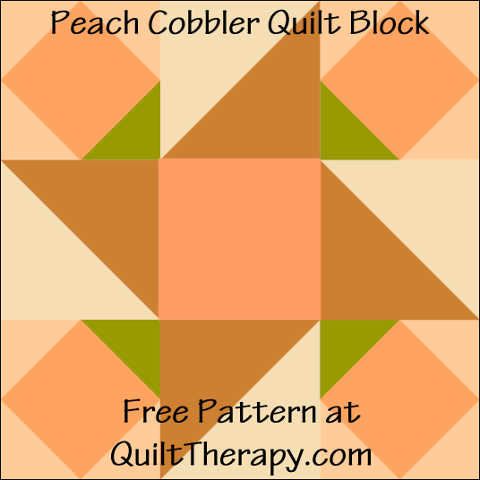 "Peach Cobbler Quilt Block Free Pattern for a 12"" quilt block at QuiltTherapy.com!"