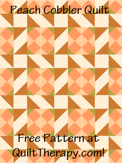 "Peach Cobbler Quilt Free Pattern for a 36"" x 48"" quilt at QuiltTherapy.com!"