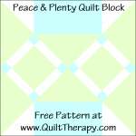 "Peace & Plenty Quilt Block Free Pattern for a 12"" quilt block at www.QuiltTherapy.com!"