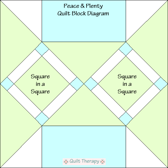 "Peace & Plenty Quilt Block Diagram Free Pattern for 12"" finished quilt block at QuiltTherapy.com!"