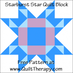 "Starburst Star Quilt Block Free Pattern for a 12"" quilt block at www.QuiltTherapy.com!"