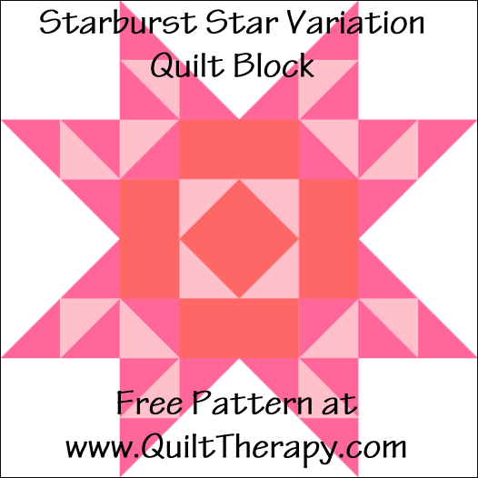 "Starburst Star Variation Quilt Block Free Pattern for a 12"" quilt block at www.QuiltTherapy.com!"