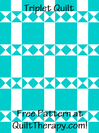 "Triplet Quilt Free Pattern for a 36"" x 48"" quilt at QuiltTherapy.com!"