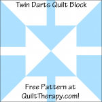 """Twin Darts Quilt Block Free Pattern for a 12"""" quilt block at QuiltTherapy.com!"""