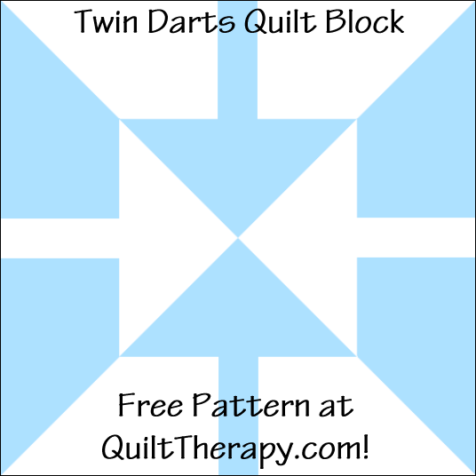 "Twin Darts Quilt Block Free Pattern for a 12"" quilt block at QuiltTherapy.com!"