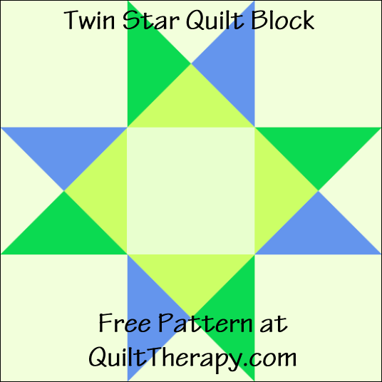 """Twin Star Quilt Block Free Pattern for a 12"""" quilt block at QuiltTherapy.com!"""