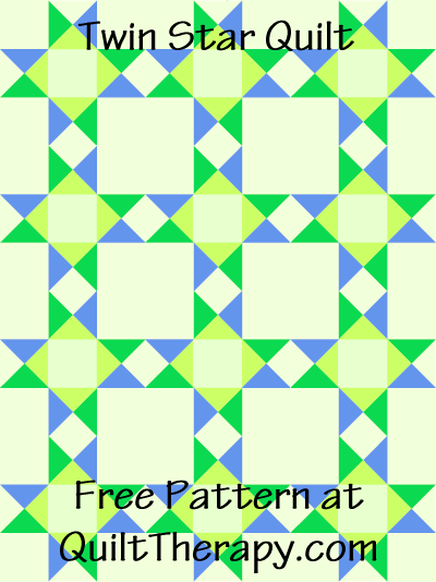 """Twin Star Quilt Free Pattern for a 36"""" x 48"""" quilt at QuiltTherapy.com!"""