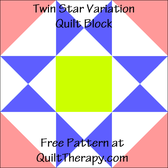 """Twin Star Variation Quilt Block Free Pattern for a 12"""" quilt block at QuiltTherapy.com!"""
