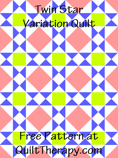 """Twin Star Variation Quilt Free Pattern for a 36"""" x 48"""" quilt at QuiltTherapy.com!"""