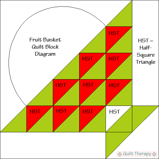 "Berry Basket Quilt Block Diagram Free Pattern for 12"" finished quilt block at QuiltTherapy.com!"
